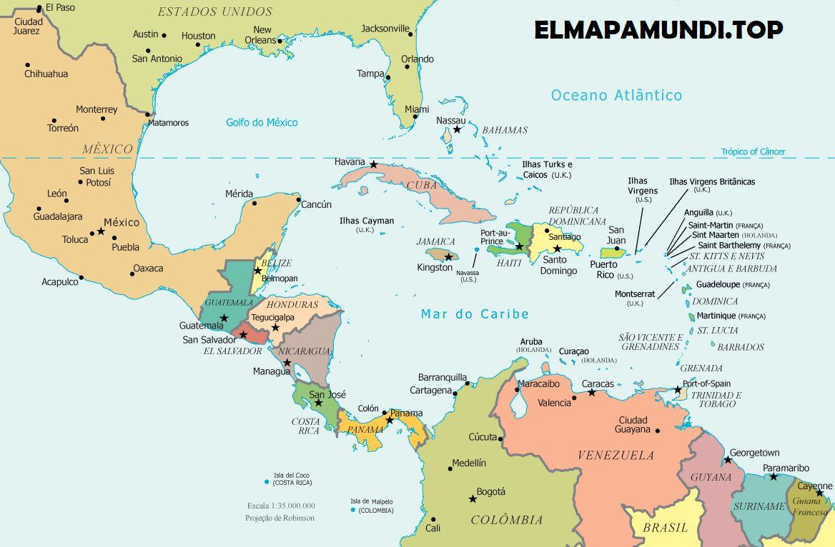 Mapa de América Central y Caribe - político