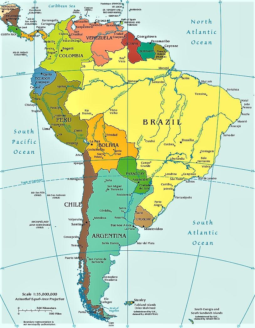 Mapa de América del Sur - sudamérica - político