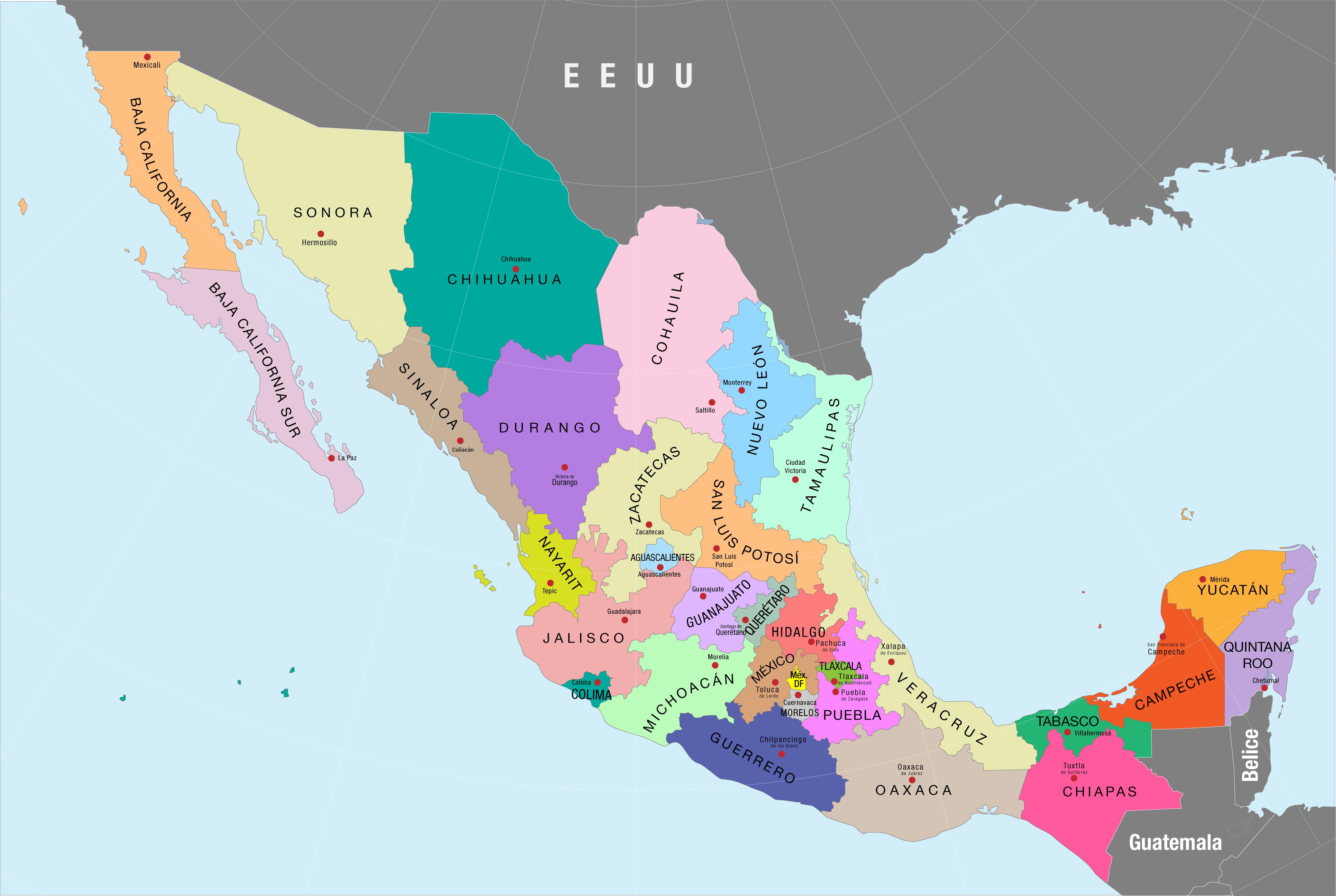 Mapa de los estados de México
