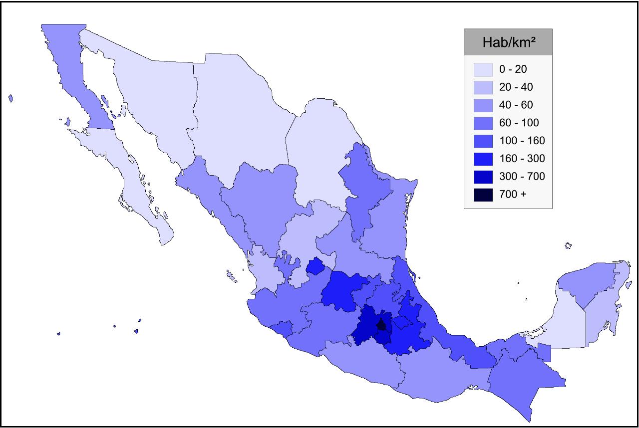 Mapa de México con división política y densidad de población