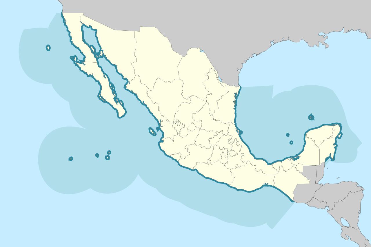 Mapa de México con límites marinos