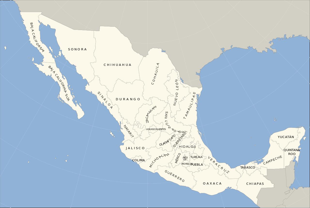 Mapa de México con nombres y división política (2)