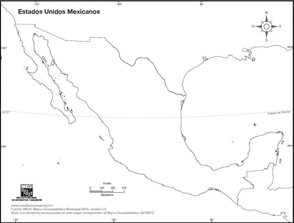 mapa-de-mexico-sin-division-politica