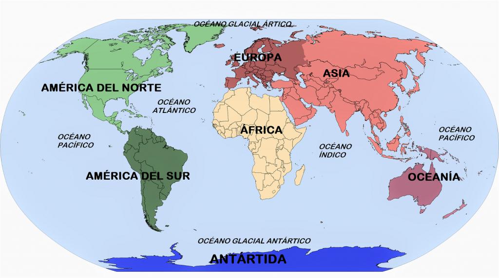 Mapamundi división de continentes